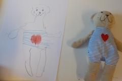 Ett barn ville måla av sitt gosedjur